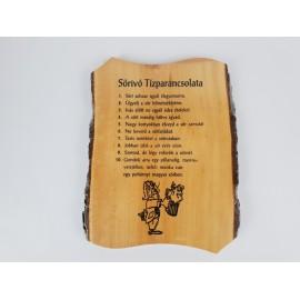 Sörivó tízparancsolata fa kérges tábla