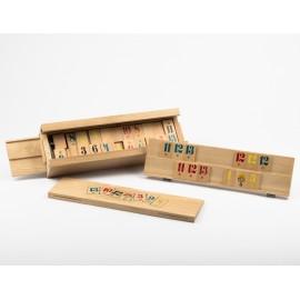 Römi társasjáték fa dobozos fa számlapokkal