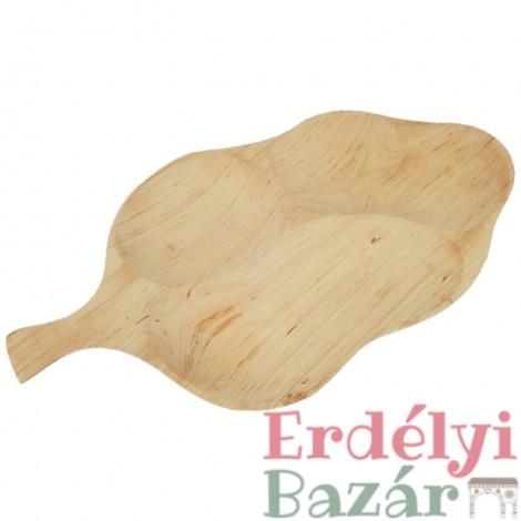 Levél formájú fatál, hármas osztású fatányér