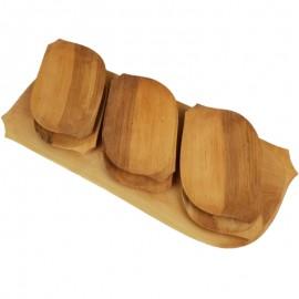 Nagy fa kínálós fatál készlet 6 fatányérral