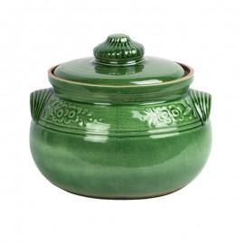 6 literes zöld kerámia főzőedény