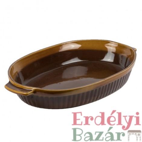 Ovális kerámia sütő tepsi, barna mázas sütőtál