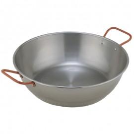 Paella 45cm-es polírozott acél magas serpenyő, sütőtál