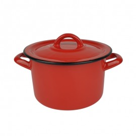 Zománcozott piros fazék 18cm