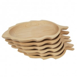 Levél formájú bükk fatányér készlet