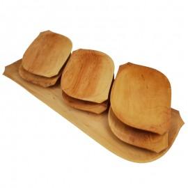Természetes fa étkészlet, fatál készlet 6 fatányér